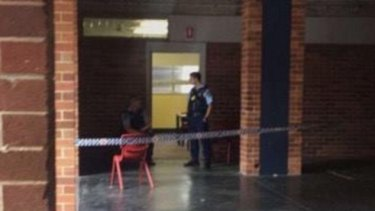 The classroom remained a crime scene on Thursday.