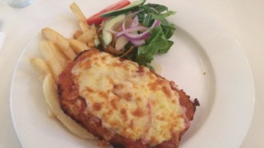 Didn't finish... the parma at the Indooroopilly Hotel was let down by its side dishes, according to Stephen Humphreys.