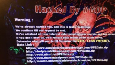 The message that appeared on staff computer screens at Sony Pictures.