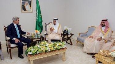 US Secretary of State John Kerry Sits With Saudi King Salman and Deputy Crown Prince Mohammad in Washington.
