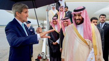 US Secretary of State John Kerry with Saudi King Salman, and Deputy Crown Prince Mohammad in Washington