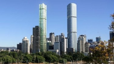Both World Class Land's proposed tower (left) and the under-construction Skytower (right) will reach Brisbane's maximum 274-metre limit.