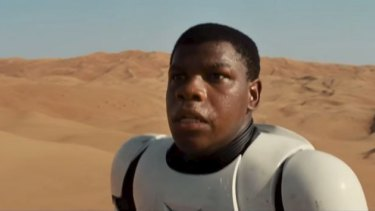 Get used to it: John Boyega at the beginning of the new trailer.