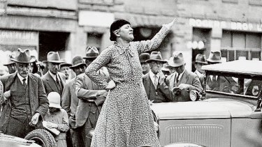 The feminist and anti-conscription campaigner Adela Pankhurst Walsh, taking her message to Sydney's streets in 1941. Marriage equality campaigners today have a similar fight to make their views heard.