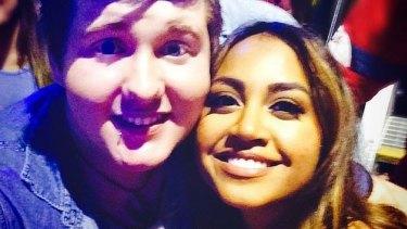 Nathaniel O'Brien with singer  Jessica Mauboy.