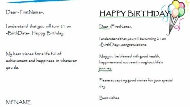 An example of  birthday cards that can be sent to a voter from the software's user manual.