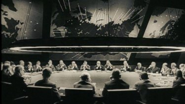 The War Room in Stanley Kubrick's Dr Strangelove. The iconic set, which helped shape the popular perception of the Cold War, was designed by Ken Adam.
