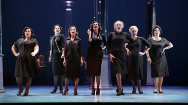 The ladies of the fictional Goodes department store in full-flight for Carolyn Burns' Ladies in Black.