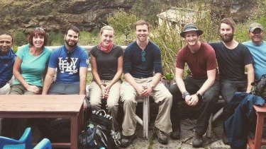Liam Buxton (third from the right) and his trekking party before the earthquake.