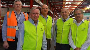 The state government, including Premier Colin Barnett (second from left) and Agriculture Minister Ken Baston (second from right), would like to see the potato industry deregulated.