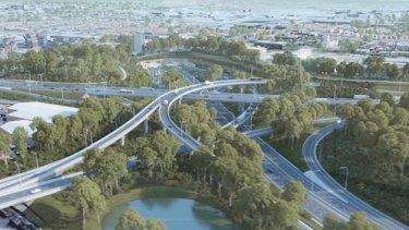 A WestConnex image depicts the St Peters interchange.