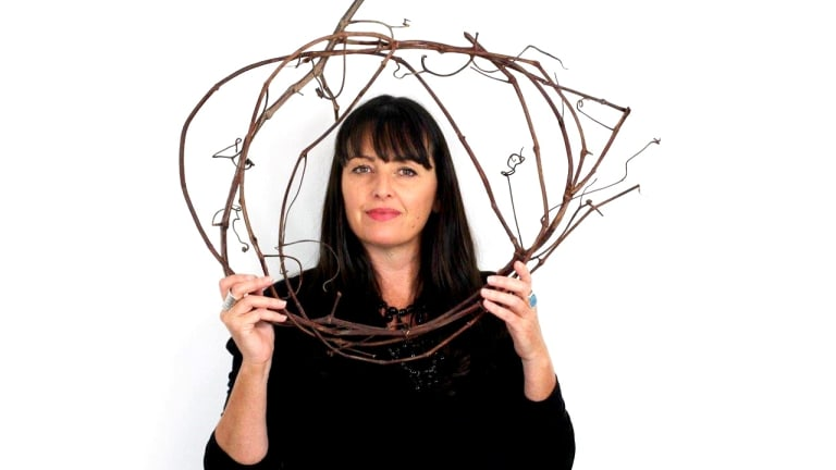 Catriona Pollard at play. Her weapon of choice? Basketry.