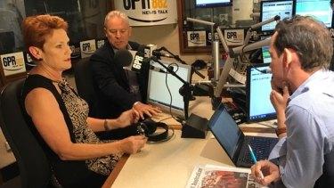 Senator Pauline Hanson does a radio interview on the campaign trail in Western Australia.