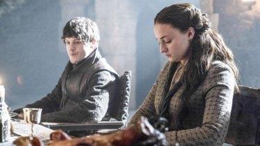Sophie Turner as Sansa Stark with her sadistic husband Ramsay Bolton, played by Iwan Rheon.