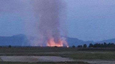 Village of Yae Twin Kyun on fire in Myanmar on 8 September 2017.