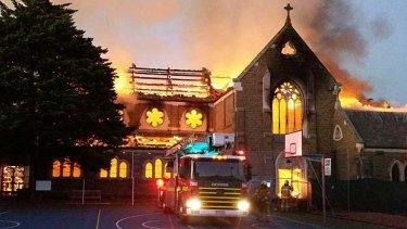 Fire tears through the historic St James Church.