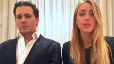Johnny Depp and Amber Heard in their now infamous dog-smuggling apology video.