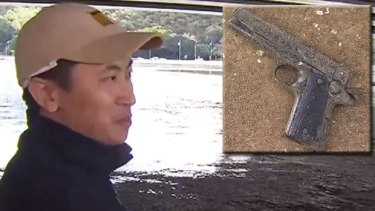 A Perth fisherman got a surprise when he caught a gun in the Swan River.