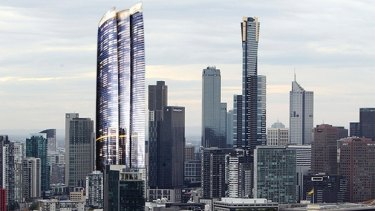 An artist's impression of how the Crown skyscraper stacks up against Eureka Tower. Image: Jamie Brown