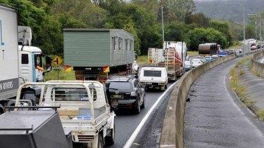 Traffic congested on the Toowoomba Range.