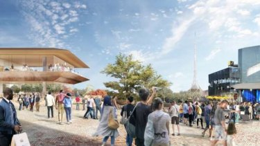 Apple's new store (left) proposed for Federation Square.