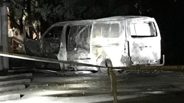 The van that drove into the Australian Christian Lobby's headquarters and exploded in Canberra