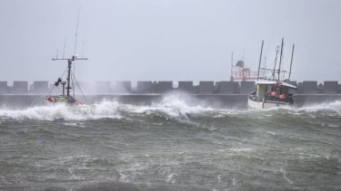 Fishing boats moored inside Port Taranaki have not escaped the ravages of Cyclone Gita.