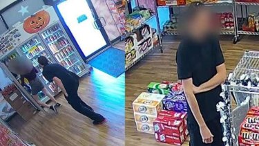 CCTV images of the alleged incident taking place (left) and the man (right.)
