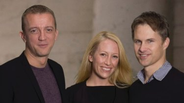 Renaud Visage, left, with fellow Eventbrite cofounders Kevin and Julia Hartz.