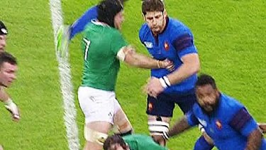 Punch: Ireland's Sean O'Brien lashes out against France.