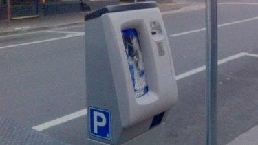A Yarraville parking meter damaged by vandals in September.