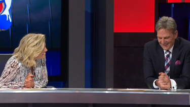 'What was it like playing with my great-grandfather?': Rebecca Maddern teases Sam Newman on her Footy Show debut.