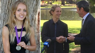 Caitlin Revell and Tate Bertola, pictured receiving his medal from Education Minister Peter Collier won the Beazley Medal for ATAR and VET respectively.