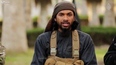 Neil Prakash, who goes by the nom de guerre Abu Khalid al-Cambodi, as he appears in the latest Islamic State propaganda video.