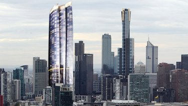 An artist's impression shows how the tower will alter the city skyline.