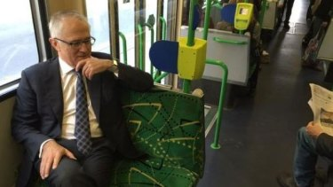 Malcolm Turnbull, on a Melbourne tram. He loves them.