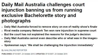 Daily Mail has announced they will challenge the Ten injunction.