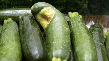 'Ugly' zucchini on sale in Brisbane.
