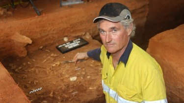 Archaeologist Professor Peter Veth at the excavation site at Barrow Island.