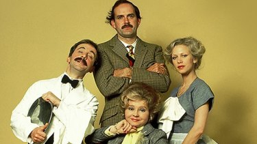 The cast of the original <i>Fawlty Towers</i>: (from left) Andrew Sachs as Manuel; John Cleese as Basil, Prunella Scales as Sybil and Connie Booth as Polly.