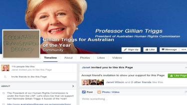 More than 11000 people have liked a page to make Gillian Triggs Australian of the Year, in a campaign started by a Central Coast firefighter Jeff Sundstrom