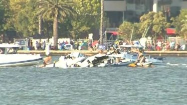 The plane crashed into the river in front of thousands of Australia Day punters.