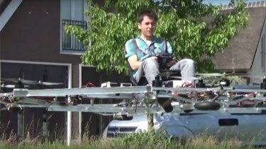 Dutch engineer Thorstin Crijns rides on a prototype Quadro.