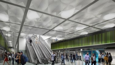 An artist's impression of one of the planned Melbourne Metro stations.