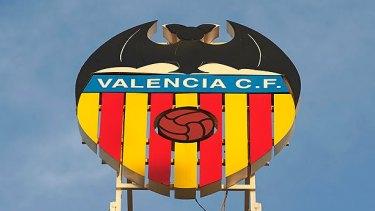 Bat signal: Valencia's logo overlooks the city.