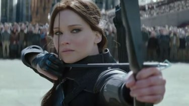 Katniss Everdeen (Jennifer Lawrence) in <i>The Hunger Games: Mockingjay - Part 2</i>.