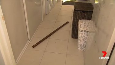 A wooden stake used by the thieves who stormed Sanna Farrukh's home in Brookfield.