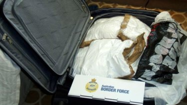 One of the suitcases allegedly uncovered by the Australian Federal Police
