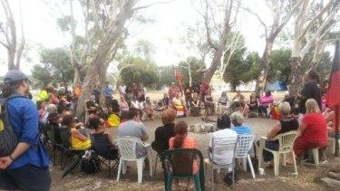 The gathering at Heirisson Island last week.