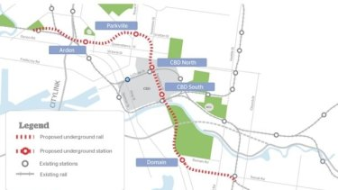 The proposed route of the $11 billion Melbourne Metro, from Kensington to South Yarra.